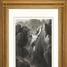Arte: JOHANN JACOB FLATTERS 1863 ORIGINAL , SATANAS SALE DEL POZO SIN FONDO, EL PARAISO PERDIDO, GRANDES M. Lote 46893135
