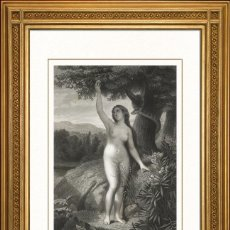 Arte: JOSEPH URBAIN MELIN 1863 ORIGINAL , EVA COGIENDO LA MANZANA, EL PARAISO PERDIDO, GRANDES MEDIDAS. Lote 46893219