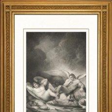 Arte: JOHANN JACOB FLATTERS 1863 ORIGINAL , ANGELES EN EL LAGO DE BETUN, EL PARAISO PERDIDO, GRANDES MEDID. Lote 46893292