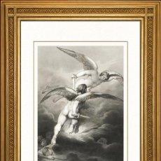 Arte: JOHANN JACOB FLATTERS 1863 ORIGINAL , SATANAS Y BELCEBU JUNTOS, EL PARAISO PERDIDO, GRANDES MEDIDAS. Lote 46893340
