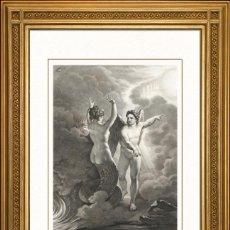 Arte: JOHANN JACOB FLATTERS 1863 ORIGINAL , SATANAS, LA MUERTE Y EL PECADO, EL PARAISO PERDIDO, GRANDES ME. Lote 46893388