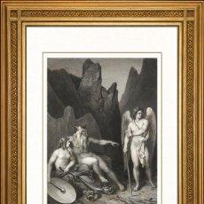 Arte: JOHANN JACOB FLATTERS 1863 ORIGINAL , SATANAS EN EL TRIBUNAL DEL CAOS, EL PARAISO PERDIDO, GRANDES M. Lote 46893462