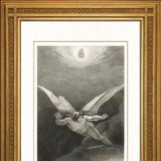 Arte: JOHANN JACOB FLATTERS 1863 ORIGINAL , SATANAS JUNTO LAS PAREDES DEL CIELO, EL PARAISO PERDIDO, GRAN. Lote 46893509