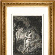 Arte: JOHANN JACOB FLATTERS Y 1863 ORIGINAL , EL PRIMER BESO DE ADAN Y EVA, EL PARAISO PERDIDO, GRANDES ME. Lote 46893543