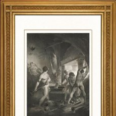 Arte: JOHANN JACOB FLATTERS 1863 ORIGINAL , LAS FRAGUAS DEL INFIERNO, EL PARAISO PERDIDO, GRANDES MEDIDAS. Lote 46893691