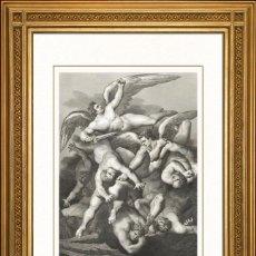 Arte: JOHANN JACOB FLATTERS 1863 ORIGINAL , LA CAIDA DE LOS ANGELES, EL PARAISO PERDIDO, GRANDES MEDIDAS. Lote 46893726