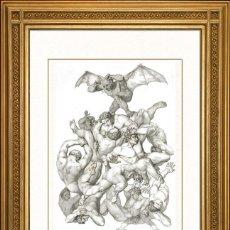 Arte: JOHANN JACOB FLATTERS 1863 ORIGINAL , SATANAS Y LOS ANGELES CAIDOS, EL PARAISO PERDIDO, GRANDES MEDI. Lote 46893861