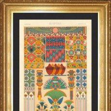 Arte: EGIPTO, LITOGRAFIA II ORIGINAL DE FINALES DEL S.XIX, L'ORNEMENT POLYCHROME, ALBERT RACINET. Lote 46913286