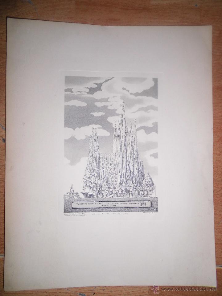 Arte: catedral SAGRADA FAMILIA BARCELONA PLANCHA grabado 1951 I.G. OLIVA TIRADA ESPECIAL ANYAL DE 1971 - Foto 3 - 46965415