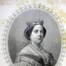 Arte: HERMOSO GRABADO, ISABEL SEGUNDA, REINA DE LAS ESPAÑAS, DIBUJO DE MADRAZO Y GRABADO X MARTINEZ, 1863. Lote 47011534