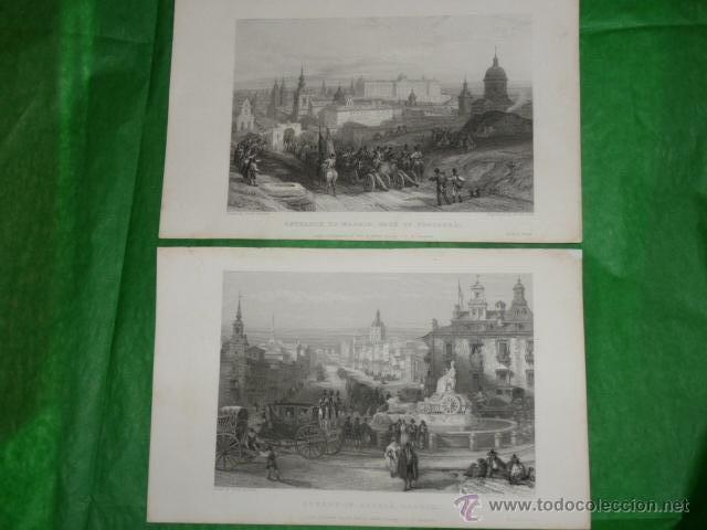DOS GRABADOS DE DAVID ROBERTS. 1.- CALLE DE ALCALÁ (CIBELES). 2.- PUERTA DE FUENCARRAL (Arte - Grabados - Modernos siglo XIX)