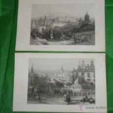 Arte: DOS GRABADOS DE DAVID ROBERTS. 1.- CALLE DE ALCALÁ (CIBELES). 2.- PUERTA DE FUENCARRAL. Lote 41261125