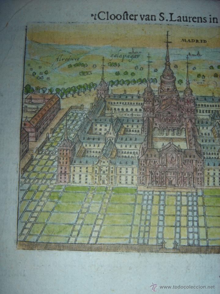 Arte: GRABADO DEL MONASTERIO DEL ESCORIAL, ORIGINAL, BERTIUS-HONDIUS, 1609, PERFECTO ESTADO Y COLOREADO. - Foto 4 - 47378131