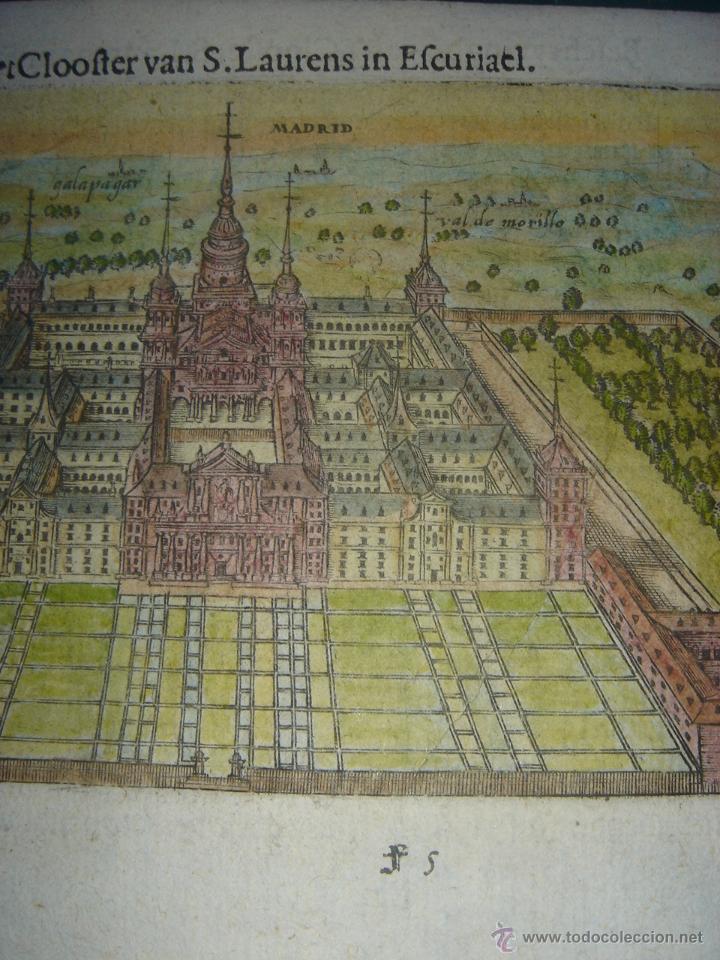Arte: GRABADO DEL MONASTERIO DEL ESCORIAL, ORIGINAL, BERTIUS-HONDIUS, 1609, PERFECTO ESTADO Y COLOREADO. - Foto 5 - 47378131