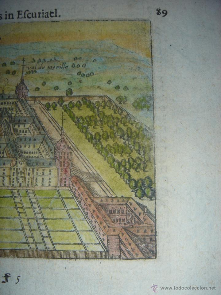 Arte: GRABADO DEL MONASTERIO DEL ESCORIAL, ORIGINAL, BERTIUS-HONDIUS, 1609, PERFECTO ESTADO Y COLOREADO. - Foto 6 - 47378131