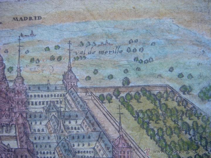 Arte: GRABADO DEL MONASTERIO DEL ESCORIAL, ORIGINAL, BERTIUS-HONDIUS, 1609, PERFECTO ESTADO Y COLOREADO. - Foto 9 - 47378131