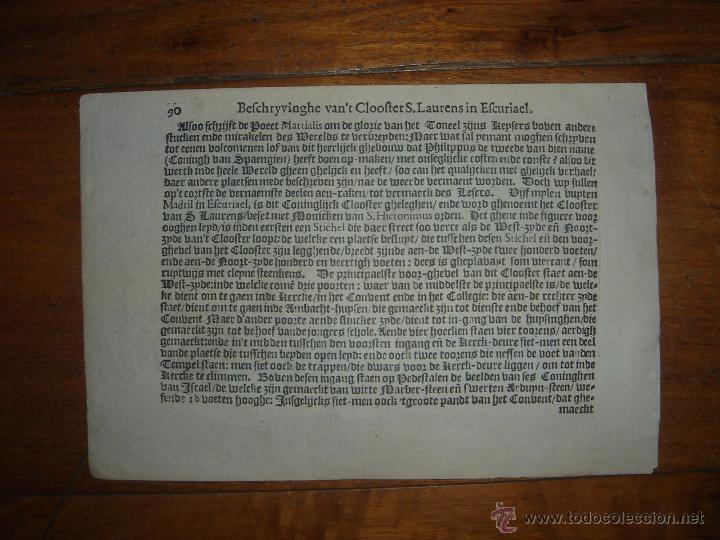 Arte: GRABADO DEL MONASTERIO DEL ESCORIAL, ORIGINAL, BERTIUS-HONDIUS, 1609, PERFECTO ESTADO Y COLOREADO. - Foto 20 - 47378131