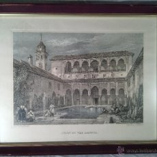 Arte: GRABADO ANTIGUO. DAVID ROBERTS (1796- 1864). PATIO DE LOS ARRAYANES. LA ALHAMBRA, GRANADA. S.XIX.. Lote 47484355