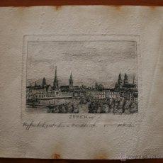 Arte: W. KUSTER: MAGNIFICO ANTIGUO GRABADO DE LA CIUDAD DE ZURICH 1912 SUIZA. Lote 47617724