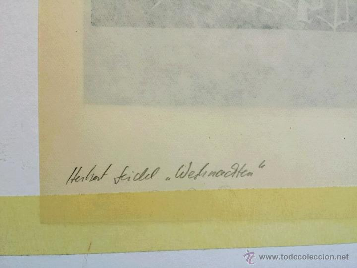 Arte: Maravilloso grabado original de Herbert Seidel, 1906-1974, firmado a lápiz, titulado la Navidad - Foto 2 - 47688792