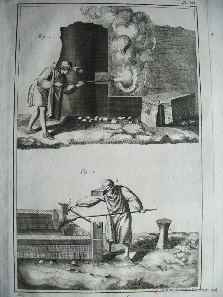 1776-TRABAJO FABRICACIÓN CRISTAL ARTESANO.VIDRIO A MANO.GRABADO ORIGINAL MUY GRANDE (Arte - Grabados - Antiguos hasta el siglo XVIII)