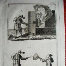 Arte: 1776-TRABAJO FABRICACIÓN CRISTAL ARTESANO.VIDRIO A MANO.GRABADO ORIGINAL MUY GRANDE. Lote 47738859
