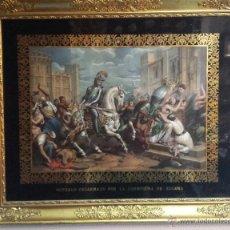 Arte: GRABADO COLOREADO S.XIX. GONZALO DESARMADO POR LA HERMOSURA DE ZULEMA. Lote 47900478