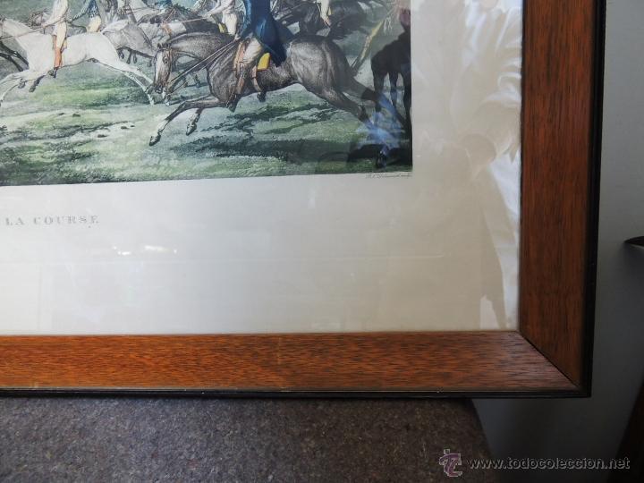 Arte: GRABADO CARRERAS DE CABALLOS CON MARCO ORIGINAL - Foto 9 - 211934733