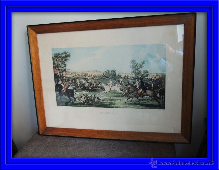 GRABADO CARRERAS DE CABALLOS CON MARCO ORIGINAL (Arte - Grabados - Modernos siglo XIX)