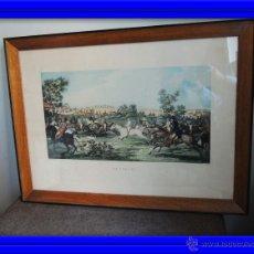 Arte: GRABADO CARRERAS DE CABALLOS CON MARCO ORIGINAL. Lote 211934733
