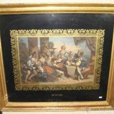 Arte: MAGNIFICO GRABADO FRANCES. ISABELINO. S.XIX. MARCO DE MADERA, ESTUCO Y PAN DE ORO. (80 CM X 71 CM). Lote 48188864