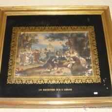 Arte: MAGNIFICO GRABADO FRANCES. ISABELINO. S.XIX. MARCO DE MADERA, ESTUCO Y PAN DE ORO. (80 CM X 71 CM). Lote 48188917