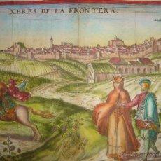 Arte: GRABADO DE JEREZ DE LA FRONTERA Y CONIL, CÁDIZ, 1580, BRAUN Y HOGENBERG, GRAN TAMAÑO. Lote 48304206