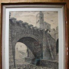 Arte: GRABADO FIRMADO POR PABLO R. MOSTACERO EN 1953. Lote 48407395