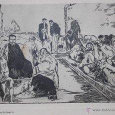 Arte: AGUAFUERTE GRABADO ORIGINAL DE ÉPOCA, GUTIERREZ SOLANA. GUERRA CIVIL, BANDO REPUBLICANO 1937. RARO.. Lote 48445004