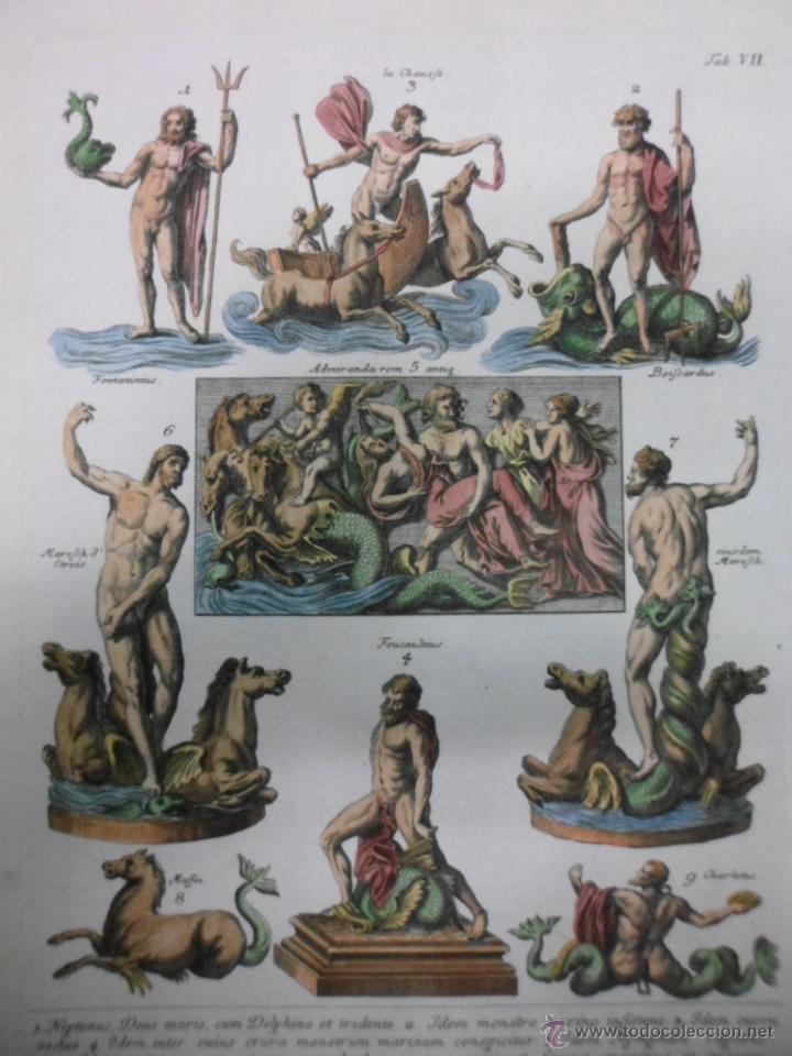 DIOSES MITOLÓGICOS DEL MAR, 1757, MONTFAUCON (Arte - Grabados - Antiguos hasta el siglo XVIII)