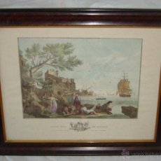 Arte: GRABADO FRANCÉS, VUE DU PORT DE BAYONNE, SIGLO XIX. Lote 48875655