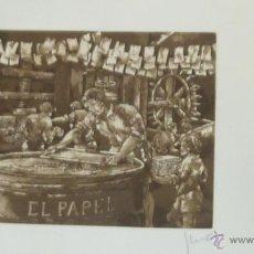 Arte: GRABADO DE MARIANO CASAS HIERRO . 411 / 500 EL PAPEL . LIBROS MADRID 18 / 15 CM ORIGINAL . Lote 49063159