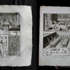 Arte: 2 GRABADOS AL COBRE. SIGLO XVIII. ORIGINAL. DORADO DE CUERO O PIEL. DORADOR. ORO SOBRE CUERO.. Lote 49131248