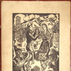 Arte: GRAN TAMAÑO GRABADO LAMINA SARDANA FOLKLORE POPULAR BAILE CATALUNYA BARCELONA AÑOS 30. Lote 49175812