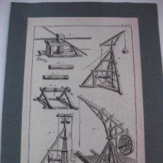 Arte: GRABADO ORIGINAL PROCEDENTE DE L'ENCYCLOPEDIE DE D'ALAMBERT - DIDEROT. (1770-1778) CHARPENTE, OUTILS. Lote 49649087