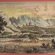 Arte: GRABADO ALEMAN COLOREADO MONASTERIO DE EL ESCORIAL. SIGLO XVIII. Lote 49769598