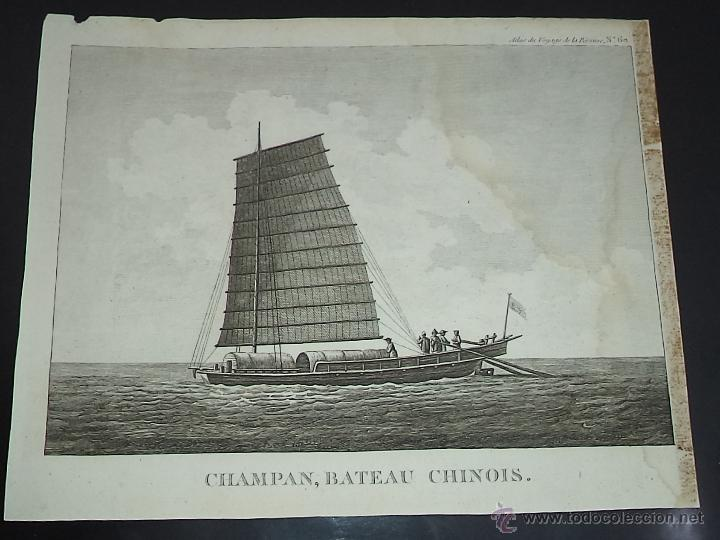 PEROUSE. GRAVÉ DU CHAMPAN, BATEAU CHINOIS. Nº 60. AÑO 1787 (Arte - Grabados - Antiguos hasta el siglo XVIII)