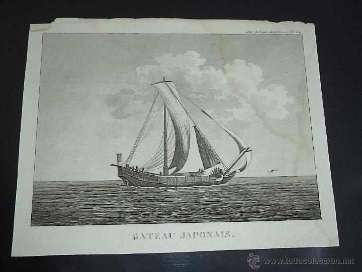 PEROUSE. GRAVÉ DU CHAMPAN, BATEAU JAPONAUS. Nº 59. AÑO 1787 (Arte - Grabados - Antiguos hasta el siglo XVIII)