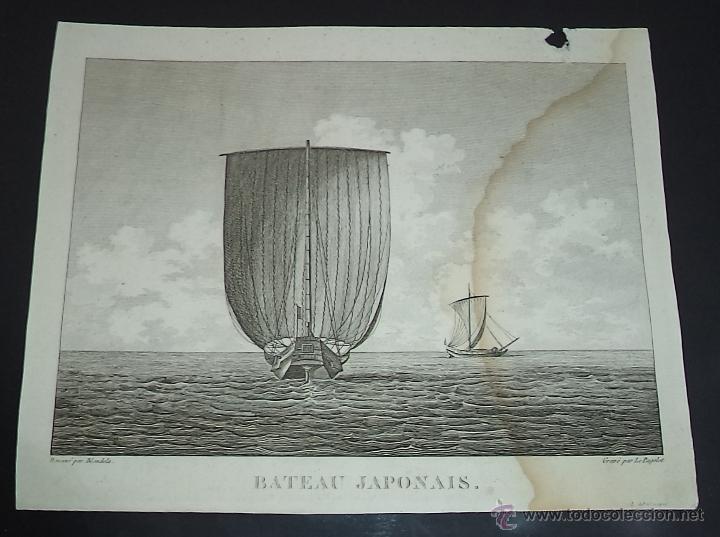 PEROUSE. GRAVÉ DU BATEAU JAPONAIS. AÑO 1787 (Arte - Grabados - Antiguos hasta el siglo XVIII)