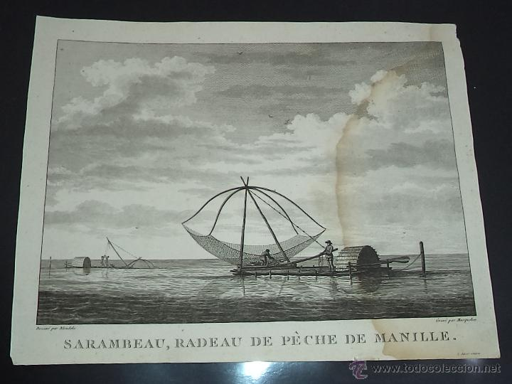 PEROUSE. GRAVÉ DU SARAMBEAU, RADEAU DE PECHE DE MANILLE. AÑO 1787 (Arte - Grabados - Antiguos hasta el siglo XVIII)