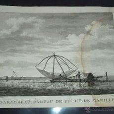 Arte: PEROUSE. GRAVÉ DU SARAMBEAU, RADEAU DE PECHE DE MANILLE. AÑO 1787. Lote 49994333