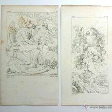Arte: MARAVILLOSO LOTE DE DOS GRABADOS ORIGINALES DE FINALES DEL XVIII-PPIOS DEL XIX. ANGELES. Lote 50033778