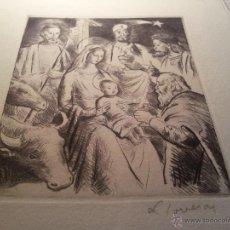 Arte: FELICITACION NAVIDAD FREDERIC LLOVERAS I HERRERA . GRABADO ORIGINAL FIRMADO A LAPIZ. Lote 50042450