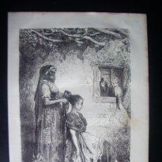 Arte: 1862-PEINANDO A UNA GITANA DE DIEZMA GRANADA GRABADO ORIGINAL DE GUSTAVO DORÉ. Lote 50169184